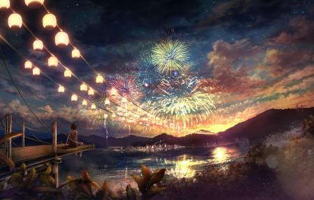 少女 女孩 看烟花 星空风景 唯美动漫4k高清壁纸高端桌面精选