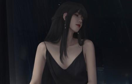 长发少女黑色吊带裙 好看的4k动漫美女壁纸高端桌面精选3840x2160