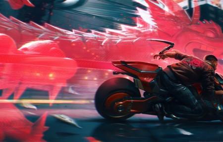 《赛博朋克2077》龙 摩托车 3440x1440游戏壁纸高端桌面精选
