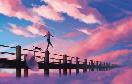 天空 云 桥 女孩 猫 4k动漫壁纸高端桌面精选3840x2160