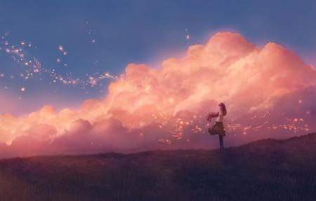 天空 云 少女 草地 唯美人物风景4k动漫壁纸高端桌面精选3840x2160