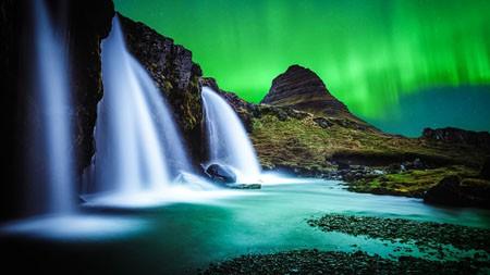 冰岛,瀑布,河流,夜,极光,4K,高清高端桌面精选 3840x2160