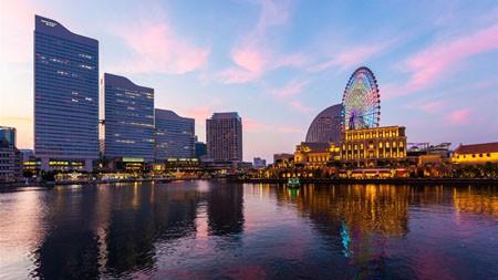 日本,横滨市,湖,日落,摄影高端桌面精选 3840x2160