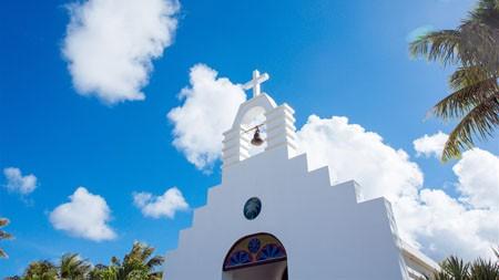 热带,塞班岛,白色教堂,建筑,蓝蓝的天空高端桌面精选 3840x2160
