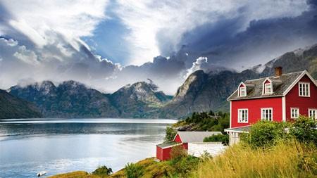 挪威,美丽,山,湖,房子,4K,高清高端桌面精选 3840x2160