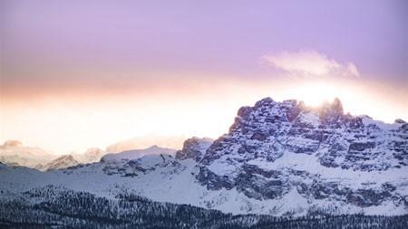 冬天,雪,峰,高山,丛林,日落高端桌面精选 3840x2160