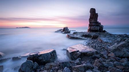 海洋,沙滩,岩石,日落,天际线,4K,照片高端桌面精选 3840x2160