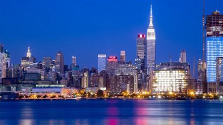 现代,城市,河流,高楼林立,灯光高端桌面精选 3840x2160