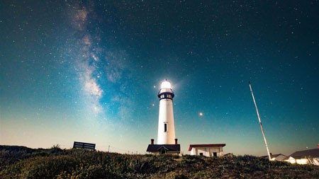 高山,灯塔,晚上,星级,天空高端桌面精选 3840x2160