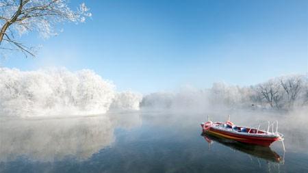 冬季,库尔河沿岸,船,2021年,风景,5K,照片高端桌面精选 3840x2160