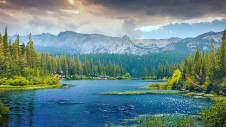 春天,森林,树,湖,山脉高端桌面精选 3840x2160