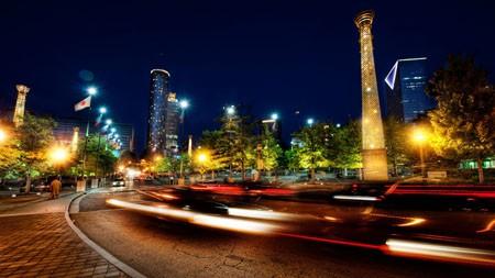 亚特兰大,城市,夜晚,道路,长时间曝光高端桌面精选 3840x2160