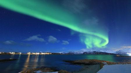 挪威,冬天,湖泊,北极光,4K,超高清高端桌面精选 3840x2160