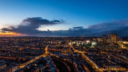 荷兰海牙,夜晚,城市,天际线高端桌面精选 3840x2160