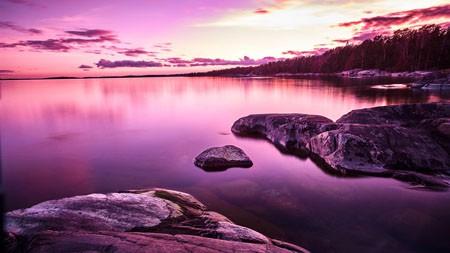 夏天,紫色,日落,风光,湖岸高端桌面精选 3840x2160