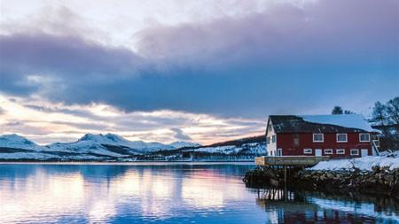 冬季,湖,雪,山,岸高端桌面精选 3840x2160