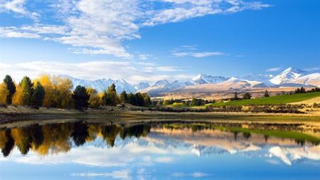 新西兰,秋天,雪山,湖,白云高端桌面精选 3840x2160