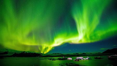 美丽,绿色,极光,冰雪,天际线高端桌面精选 3840x2160