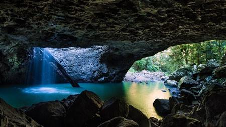 丛林,岩石,洞穴,河,景观高端桌面精选 3840x2160