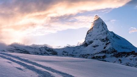 寒冷,冬天,阿尔卑斯山,雪山,日落高端桌面精选 3840x2160