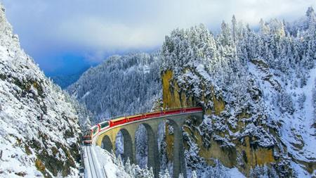 丛林,铁路,高架桥,瑞士,2021年,必应,主题桌面高端桌面精选 3840x2160