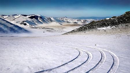 冬季,草原,冰雪覆盖,高速公路高端桌面精选 3840x2160