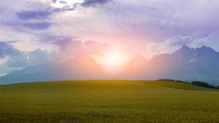 迷人,草原,山地,日落,景观高端桌面精选 3840x2160