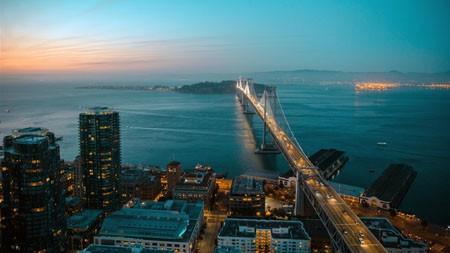 旧金山,夜晚,城市,跨海,桥高端桌面精选 3840x2160