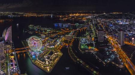 日本,港未来,夜,天际线,4K,高清高端桌面精选 3840x2160