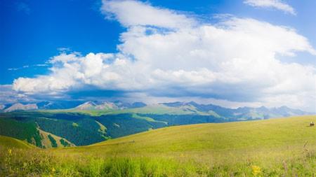 新疆喀拉峻,绿色的草原,蓝天,风光高端桌面精选 3840x2160