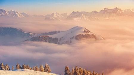 瑞士,山,云,海,日落,4K,风景,摄影高端桌面精选 3840x2160