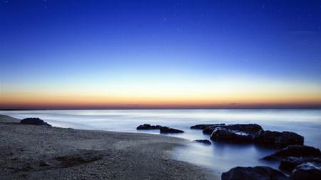 蓝色,天空,星星,海滩,日出,岩高端桌面精选 3840x2160