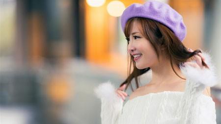 紫色帽子,白色毛线衣,女孩,高清照片极品壁纸精选 3840x2160