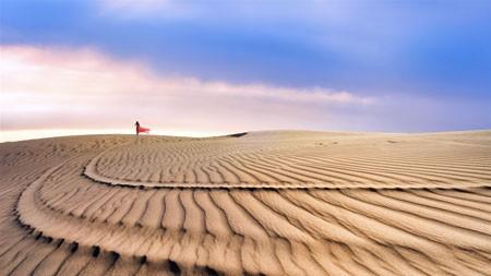 美丽,红色礼服,女孩,沙漠,日落,照片高端桌面精选 3840x2160