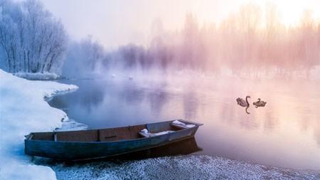 冬季,雾,早晨,雾,河流,阳光高端桌面精选 3840x2160
