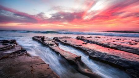 沙滩,岩石,日落,云,海洋,地平线高端桌面精选 3840x2160