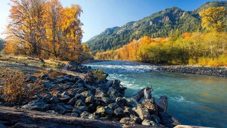 美国,秋,石头,黄色,森林,河百变桌面精选 3840x2160