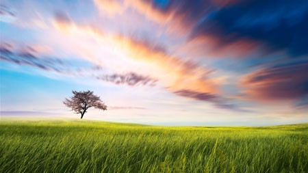 美丽,绿色,草原,云,日落高端桌面精选 3840x2160