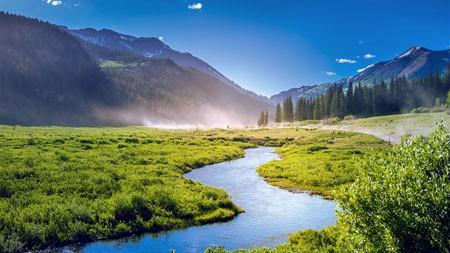 科罗拉多州,夏季,丛林,丘陵,河流,雾高端桌面精选 3840x2160