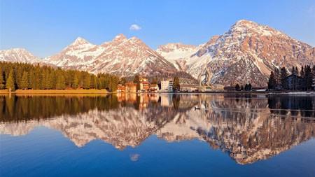 阿尔卑斯山,雪山,旅游小镇,湖,日落高端桌面精选 3840x2160