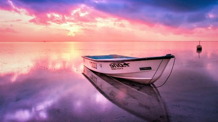 美丽,夏天,日落,湖,船,倒影高端桌面精选 3840x2160