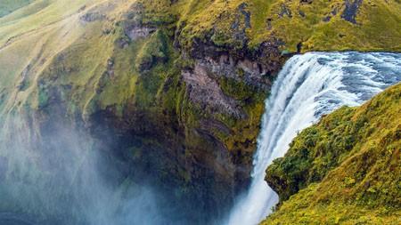 高山,草甸,壮观,悬崖,瀑布,景观高端桌面精选 3840x2160