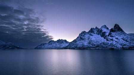 冬天,雪山,平静,海洋,地平线高端桌面精选 3840x2160