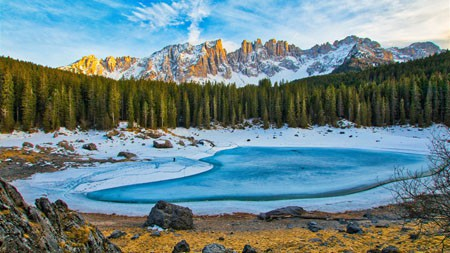 冬天,丛林,雪山,冰冻,湖泊高端桌面精选 3840x2160