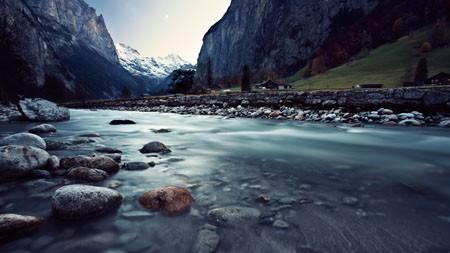 雪,山,峡谷,河流,木屋,4K,高清,桌面高端桌面精选 3840x2160
