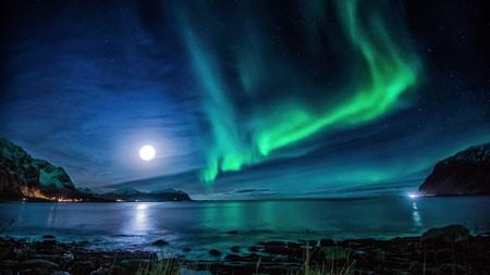 挪威罗弗敦,河流,夜晚,神奇的极光高端桌面精选 3840x2160