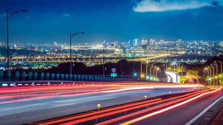 城市,高速公路,夜晚,长时间曝光高端桌面精选 3840x2160
