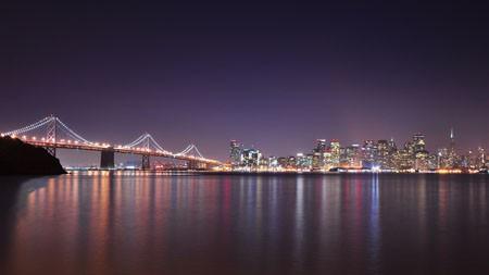 旧金山,城市,河流,桥梁,摩天大楼,晚上高端桌面精选 3840x2160