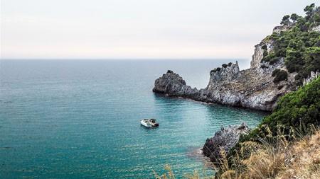 海,湾,海岸,岩石,快艇,4K高端桌面精选 3840x2160