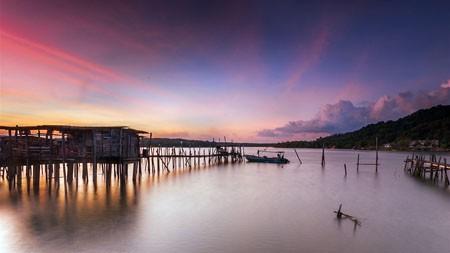 海,海岸,渔民,木屋,日落高端桌面精选 3840x2160
